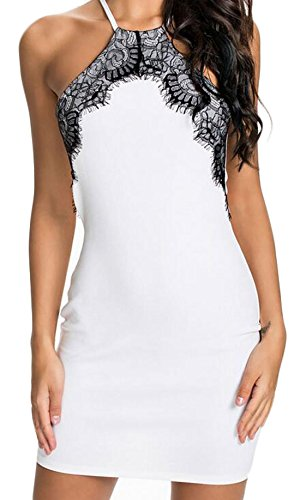 Acquaa Women's Sexy Lace Stitching Hanging Neck Dress