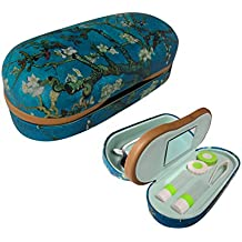 Dual Glasses and Contacts Case - Double Sided 2 in 1 Case with Mirror