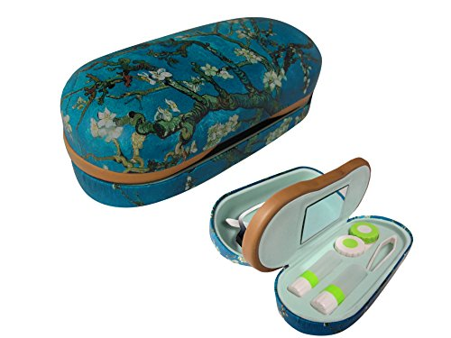 Dual Glasses and Contacts Case - Double Sided 2 in 1 Clamshell Hard Case for Eyeglasses and Contact Lenses with Mirror - Blue with Tree Print and Matte Finish - By OptiPlix