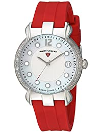 Swiss Legend SL-16591SM-02-RDS Women's Layla Quartz Stainless Steel and Silicone Automatic Wrist Watch, White Dial with Red Band