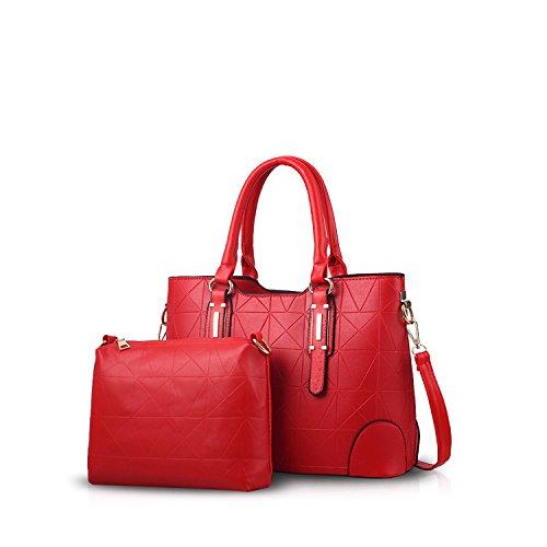 NICOLE&DORIS Sencillo Mode Bolsos de Mano para Commuter Mujer Monederos Mujer Bolso de Bandolera 2PCS Bolso Crossbody Impermeable PU Negro Rojo