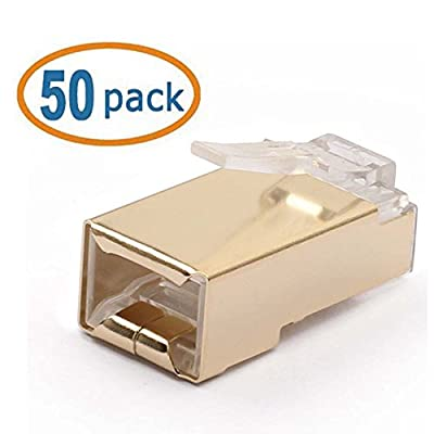 WOVTE CAT6 Gilded Shielded Crimp Connector RJ45 8P8C STP Ethernet Network Cable Plug Pack of 50