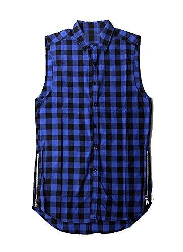Bikinmoon Trendy Mens Plaid Casual Sleeveless Tops Botton Down With Zip BlueChina L/US S