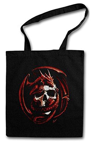 SKULL & DRAGON Hipster Shopping Cotton Bag Borse riutilizzabili per la spesa - Gothic Fantasy RPG cranio drago Dungeons Larp