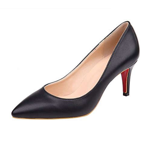 HooH Women's Simple Pointed Toe Slip Kitten Pumps Black 9isS9jV
