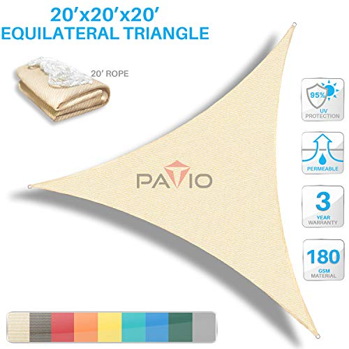 Patio Paradise 20' x20'x 20' Beige Sun Shade Sail Triangle Canopy - Permeable UV Block Fabric Durable Outdoor - Customized Available