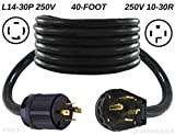 getwiredusa 40-Foot Cord 220/250 Home Emergency Backup Jumper Cable, L14-30P Twist Lock 4-Pin Plug to 14-30P 4-Prong Dryer Plug, Electric Back Feed House Male Generator Power Adapter. NEMA. FX671-40FT