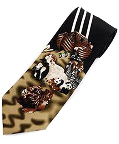 Parquet Men's Black Noah's Ark Bible Story Religious Necktie Neck Tie (Necktie Bible)