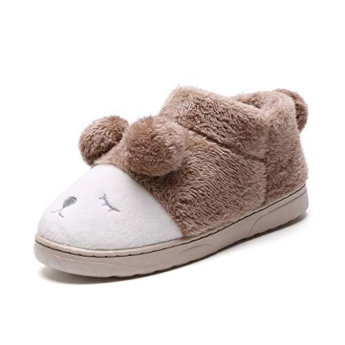 York Zhu Cartoon Indoor Home Slippers - Warm Plush Cute Cotton Couple Slippers Slip-on