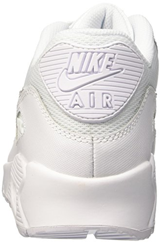 Nike Air Max 90 Mesh (GS) Zapatillas de running, Niños Blanco / Gris (White / White-Cool Grey)