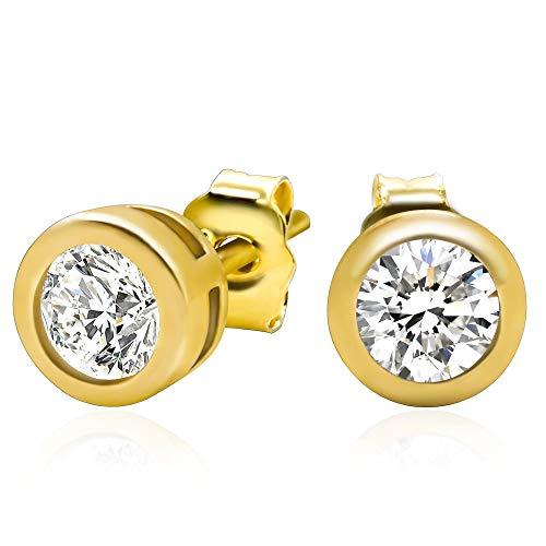 14k Yellow Gold Plated 925 Sterling Silver Bezel Set Cubic Zirconia Stud Earrings, 4mm stone