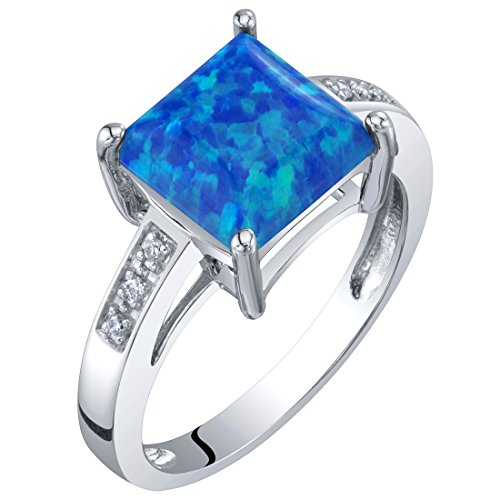 Matrix Opal Ring - 14K White Gold Created Blue Opal and Diamond Princess Cut Solitaire Ring 1 Carat Size 5