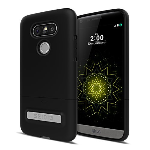 Seidio Phone Battery - Seidio Surface Cell Phone Kickstand Case for LG G5 - Retail Packaging - Black/Black