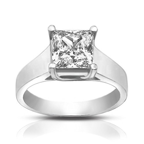 0.74 Ct Ladies Princess Cut Diamond Solitaire Engagement Ring 18 kt White Gold In Size 6