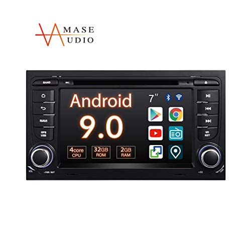 """Car Stereo, 2 Din for Audi A4 S4 RS4, 7"""" Touchscreen, DVD Player in-Dash, Android 9.0, Support Android Auto/GPS navigation/HD1080P//Fast Boot/Reverse Camera/OBDII"""