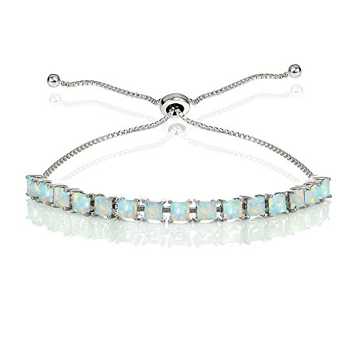 GemStar USA Sterling Silver 3mm Simulated White Opal Princess-cut Adjustable Bolo Tennis Bracelet