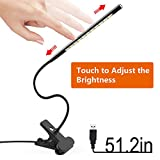 Book Reading Light, Tyrone-Battery Book Lights for Reading at Night with Dimmer, Clip on Light, Clamp on Lamp for Bed Headboard / Computer Desk / Kindle / Laptop / Kids at Night [LED Touch Sensitive]
