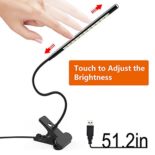 Book Reading Light, Tyrone-Battery Book Lights for Reading at Night with Dimmer, Clip on Light, Clamp on Lamp for Bed Headboard / Computer Desk / Kindle / Laptop / Kids at Night [LED Touch Sensitive] by PerfectFamily
