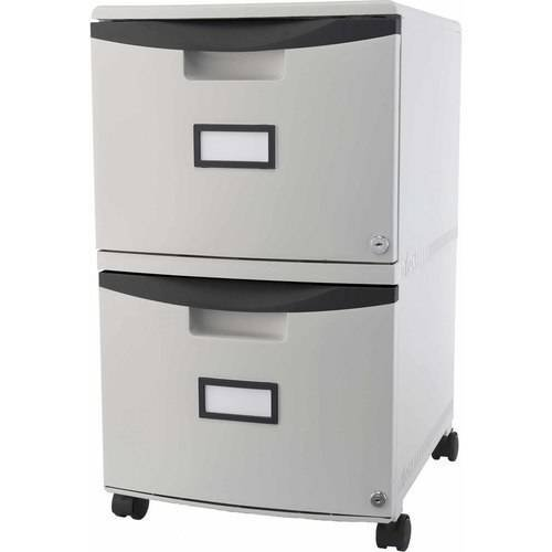 Storex 2-Drawer Mobile File Cabinet With Lock and Casters, Legal/Letter - Gray/Black by Storex