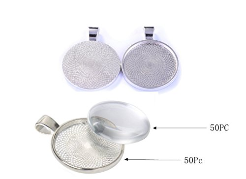 50 Pieces Silver Pendant Trays Round Bezel Round Bezel with 50 Pieces Glass Round Dome Tiles, Totally 100 ()
