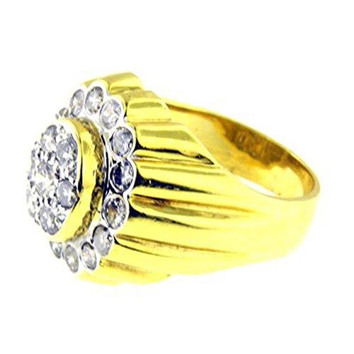 1.50 Ct Yellow Gold Diamond Mens Ring 18kt -
