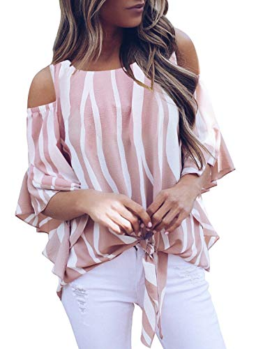 Women Striped Cold Shoulder Ruffle 3 4 Sleeve Tee Tops Ladies Tie Knot Blouse Tunics Pink X-Large 16 18 ()
