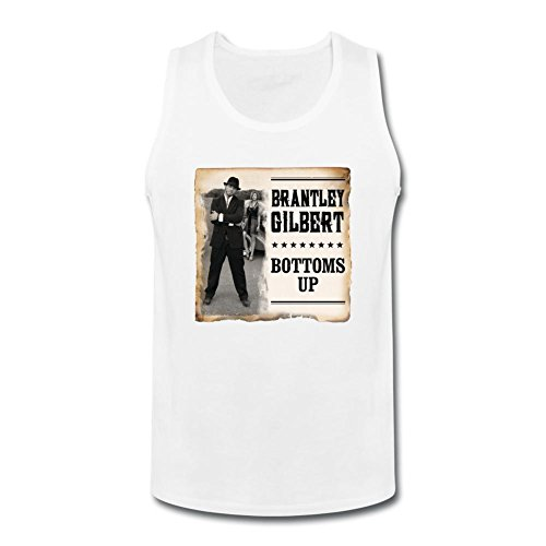 TILLASUN Men's Brantley Gilbert Bottoms Up Tops Size L White