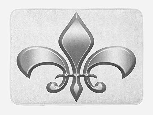 Fleur De Lis Flower - Ambesonne Fleur De Lis Bath Mat, Lily Flower Symbol Nobility of Knights in Medieval Time European Iris Icon, Plush Bathroom Decor Mat with Non Slip Backing, 29.5 W X 17.5 W Inches, White Silver