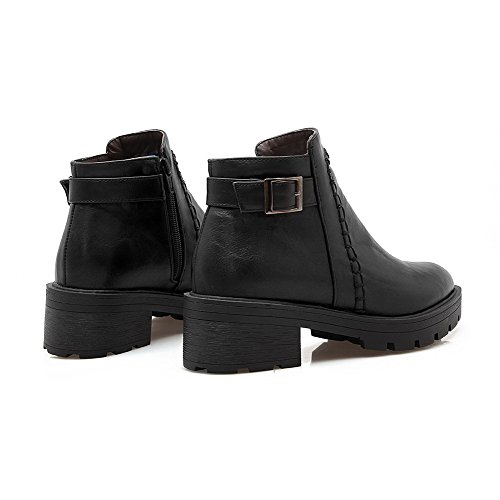 AllhqFashion Womens Low-Top Solid Zipper Round Closed Toe Kitten Heels Boots Black JwyEJ