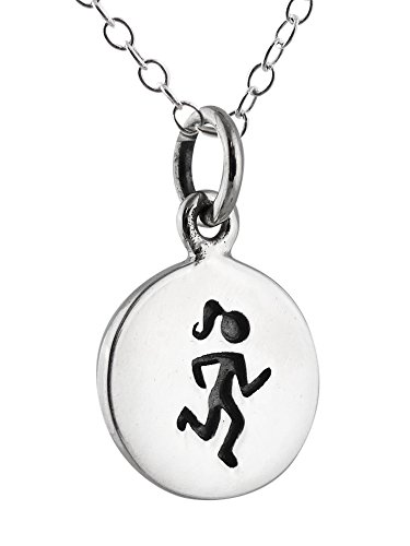 Sterling Silver Tiny Etched Runner Girl Charm Necklace, 18