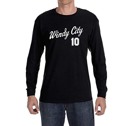 Tobin Clothing Black Chicago Moncada Windy City Long Sleeve Shirt Adult 2XL -