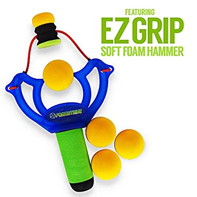 Monkey Business Sports FoamStrike X3 Slingshot for Kids- Share The Fun and Excitement with Handy Two Pack and 12 Extra Balls- Sturdy Toy Slingshot Brings Hours of Healthy Exercise Indoor or Outside: Toys & Games