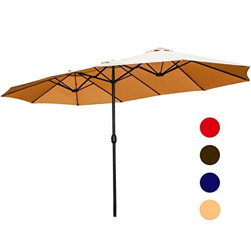 LOKATSE HOME 15 Feet Double-Sided Market Patio Outdoor Twin Umbrella with Crank, 2 Middle Khaki