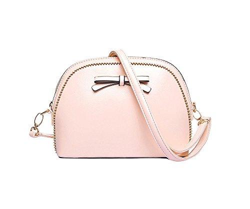 JoSa - Pink Bow Detail Cross Body Bag - Top Zip & Detachable Strap - FREE DELIVERY