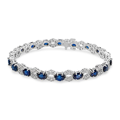 BRAND NEW Diamond & Sapphire Bracelet in 18k White Gold (2.30 CTW) by Loved Luxuries