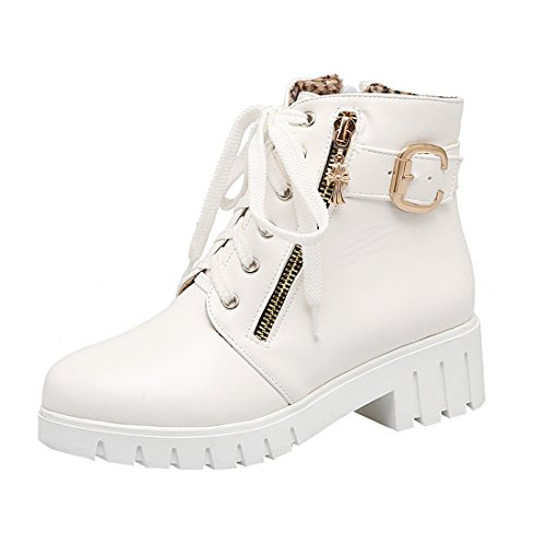 14ae1c00913132 YE Damen Chunky Heels Ankle Boots Plateau High Heels Stiefeletten mit  Schnürung und Reißverschluss Elegant Modern