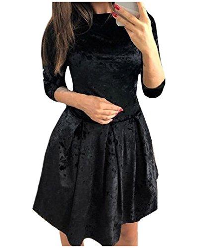 Waist Slim Black Women Coolred Dress Fit Half Mini Trend Sleeve Simple Accept TYgwAqU