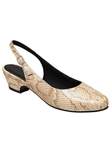 AngelSteps Women's Adult Delia Synthetic Pumps Shoes Dress Shoes 11 Wide US Women/Tan Snake