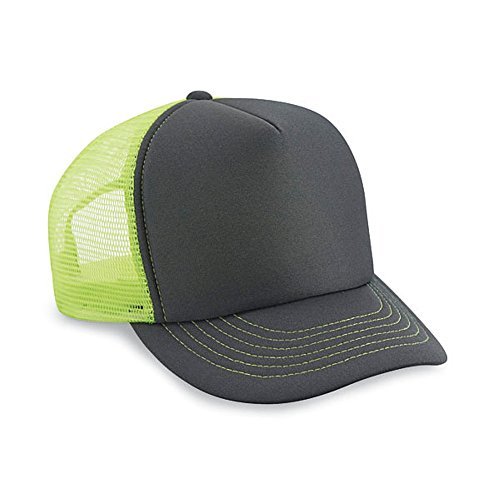 - 1 Dozen (12) Cobra Caps Charcoal and Neon Yellow Foam Mesh Trucker Baseball Hats