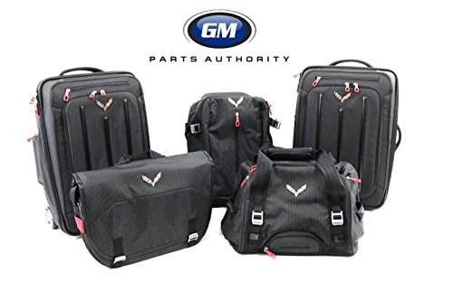 GM 2014-2017 Corvette C7 5 Piece Luggage Set Black with Logo by Chevrolet (BLACK)