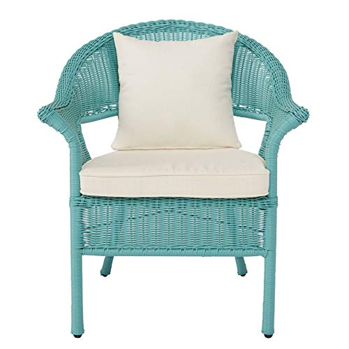 BrylaneHome Roma All-Weather Wicker Stacking Chair - Haze (Wicker Chair Outdoor)