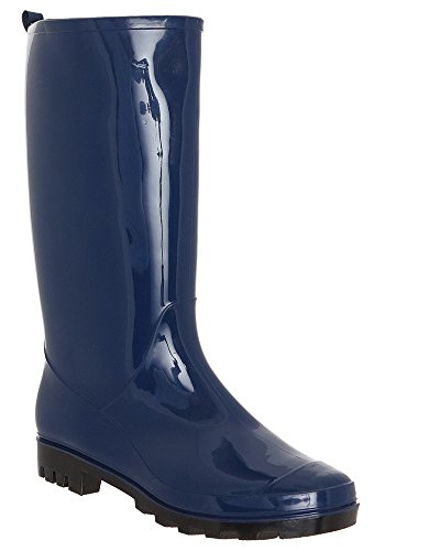 Rain Capelli Ladies Opaque Jelly Shiny New York Navy Boot Solid w0wS7