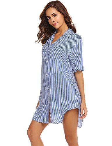 Avidlove Womens Nightshirt Short Sleeves Pajama Top Boyfriend Shirt Dress Nightie Sleepwear Light Blue Stripes, Large