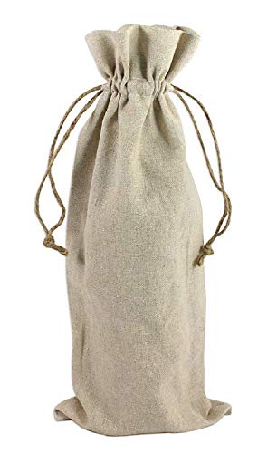 12 Pack- Natural Linen Wine Bags with Drawstrings,Perfect for Wedding Favor Bags, Party Bags, Promotional Wine Bags