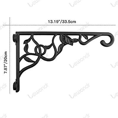 Lewondr Wall Hanging Plant Bracket, 13 Inch Retro Outdoor Indoor Garden Hook Décor Wrought Iron Decorative Plant Brackets with Screws for Balcony Bird Feeder Wind Chime Lantern, Ivy - Black : Garden & Outdoor