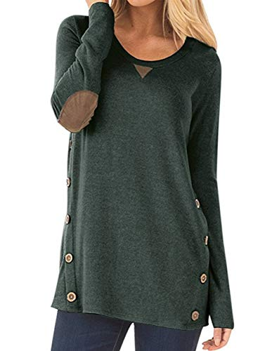 - Women's Casual Round Neck Long Sleeve Oblique Hem Side Button Tunic Tops