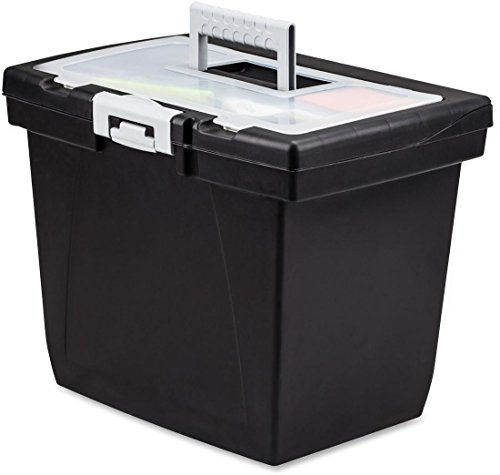 Storex Nesting Portable File Box - External Dimensions: 15in. Width x 10.7in. Depth x 10.7in.Height - Media Size Supported: Letter - Latch Lock Closure - Black, Gray - For File Folder, Letter,