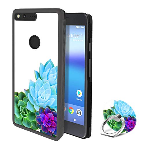 Google Pixel XL Case with Ring Holder Stand Succulents Rotating Ring Stand and Slim Thin Anti-Fingerprint Hard with Ring Holder Stand for Google Pixel XL
