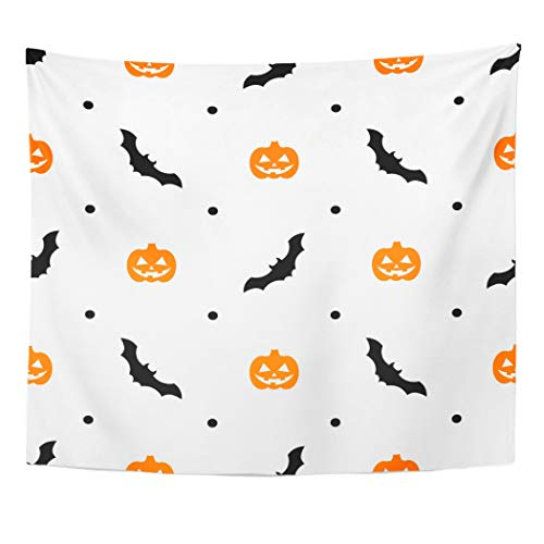 Emvency Wall Tapestry Autumn Halloween Pattern with Orange Pumpkins and Bats on White Black Cartoon Carving Celebration Creature Dark Evil Decor Wall Hanging Picnic Bedsheet Blanket 60x50 Inches