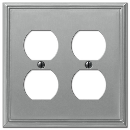 Metro Line Brushed Nickel - 2 Duplex Outlet Wallplate (Creative Accents Wall Plate)